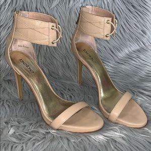 Bebe nude ankle strap high heels